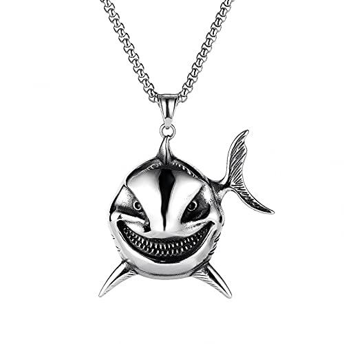 WDBUN Collar Colgante Joyas Nuevo Collar de Acero Inoxidable con Colgante de tiburón Personalidad Punk Hip Hop para Hombre Víspera de Todos los Santos Navidad Fiesta de cumpleaños Regalo