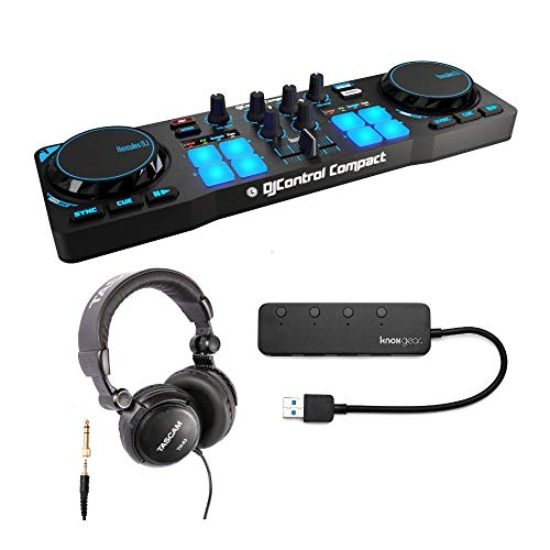 Fantastic Prices! Hercules DJControl Compact with Headphones and Knox 4 Port 3.0 USB Hub Bundle (3 I...