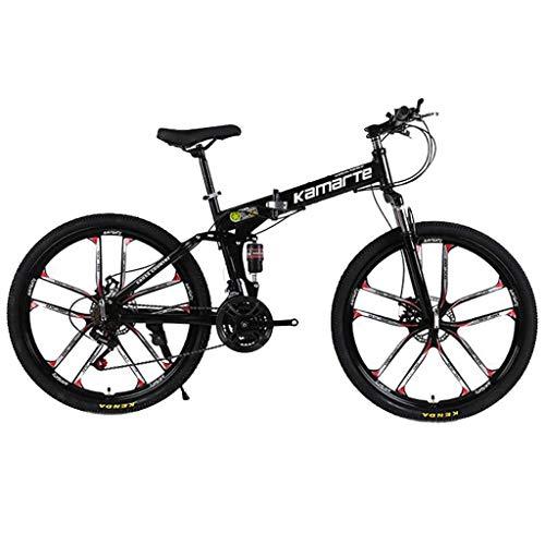 """WGYDREAM Bicicleta Montaña MTB Plegable Montaña De La Bicicleta, Mujeres Y Los Hombres, 21/24/27 Velocidades, 26"""" Marco De Acero Al Carbono, Suspensión Completa, Freno De Disco Bicicleta de Montaña"""