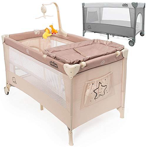 all Kids United Baby Reisebett Deluxe - Babycenter Kinderreisebett Kinderbett mit Wickelauflage und Mobile; Beige