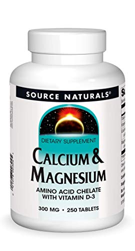 Source Naturals Calcium & Magnesium Dietary Supplement - Amino Acid Chelate with Vitamin D-3 - 250 Tablets