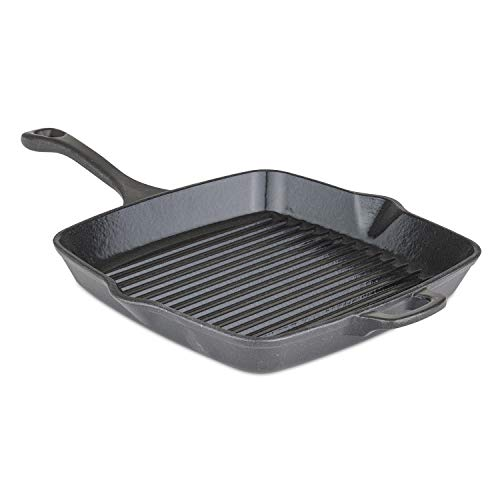 Viking Culinary Viking Enamel Cast Iron, 11 inch Square Grill Pan, , Charcoal, Small