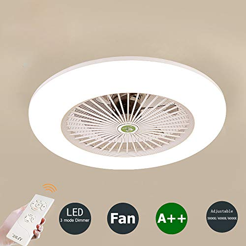 Deckenventilator mit Beleuchtung und Fernbedienung Leise Schlafzimmer-Lampe LED Deckenleuchte 3-Farbtemperatur Dimmbar Deckenlampe Weiß Rund Wohnzimmer Esszimmer Dekor Fanlampe