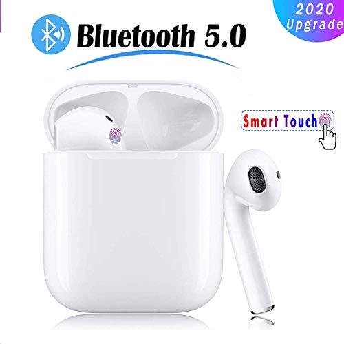 Hoofdtelefoon, draadloos, Bluetooth 5.0 met ruisonderdrukking, automatische koppeling, sporthoofdtelefoon, IPX5, stereo, waterdicht, geïntegreerde HD-microfoon-hoofdtelefoon, voor iPhone Android/AirPods Wit.