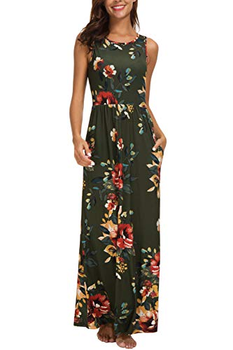 Features:Two side pockets,crew neck sleevless top,elastic at waist,ruffle in the skirt,flattering A line maxi dress,hide your belly well Occasion: Long dresses for women casual,beach,church,work,party wedding and evening.Great maternity dress for mom...