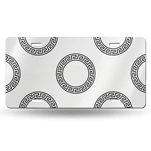 Greek Circular Ornament Number Registration Plate Metal Stamped License Plate Novelty Car Tag