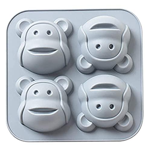 QWET Kuchenform für Ostern, 4 Löcher, kleiner Affe, Muffin, Schokolade, Kekse, Backform, für Kekse, Schokolade, Süßigkeiten, Eier, Oster-Kuchendekorationen (grau)