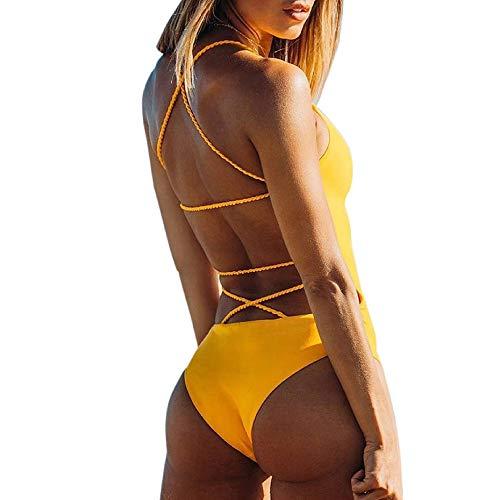 K-youth® Ropa De Baño Bañador de una Pieza Bikini Mujer 2018 Bikini Push Up Mujer Sin Respaldo Playa Bikinis Brasileños Mujer con Relleno Bikinis Mujer Traje De Baño Mujer Color sólido