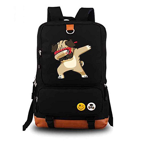Funny Pug Dabbing Dab backpack men girl Student School Bags travel Shoulder Bag Rucksacks (black)