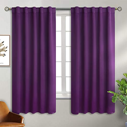 BGment Rod Pocket and Back Tab Blackout Curtains for Bedroom - Thermal Insulated Room Darkening Curtains for Living Room , 2 Window Curtain Panels ( 42 x 63 Inch, Purple)