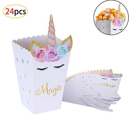 Cajas de Palomitas de Maíz,Unicornio Palomitas de Maíz Caja de Bocadillos, Envases de Caramelos de Cartón, Bolsas de Fiesta, Contenedores para el Regalo de Boda de Cumpleaños(24 Piezas)