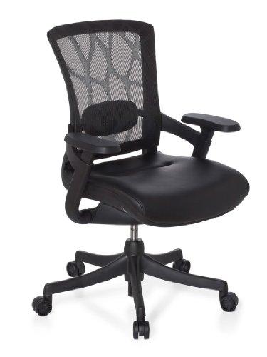hjh OFFICE 652970 Bürostuhl Chefsessel Skate Base Leder, Netzstoff schwarz, außergewöhnlicher Sitzkomfort, funktioneller Drehstuhl mit toller Ausstattung, Bürodrehstuhl ergonomisch, Schreibtischstuhl