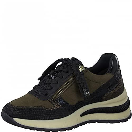 Tamaris Damen Sneaker, Frauen Low-Top Sneaker,lose Einlage,Comfort Lining,Strassenschuhe,Sportschuhe,Freizeitschuhe,Olive Comb,41 EU / 7.5 UK