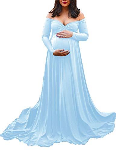 Saslax Maternity Off Shoulders Long Sleeve Half Circle Gown for Baby Shower Photo Props Dress Light Blue 59 Medium