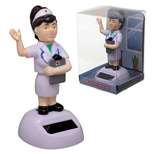 PUCKATOR - Figura de Enfermera con energía Solar Bobblehead