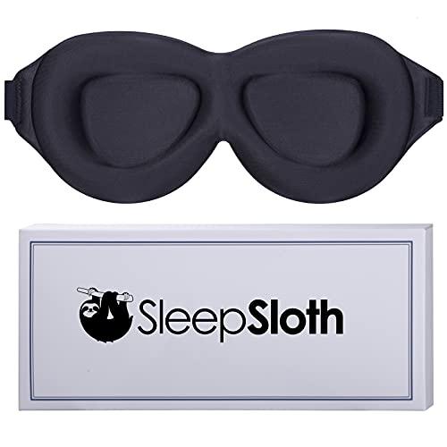 SleepSloth Sleep Eye Mask, 3D Contoured 100% Blackout Eye Mask, Sleep Mask with Adjustable Strap, Soft and Comfortable Night Blindfold for Women Men, Eye Mask for Sleeping, Shift Work, Travel, Black