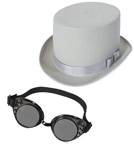 KarnevalsTeufel Steampunk Set Zylinder und Schweißerbrille Gothic Hut und Brille Accessoire Gothicset (Zylinder Grau)
