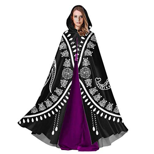 WYYWCY Indian Ornament Graphic Elephant Women Cape Cloak Hood Cloak Kids 59inch For Christmas Halloween Cosplay Costumes