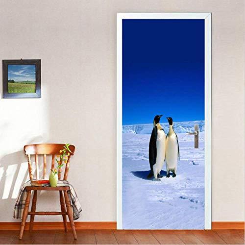 Etiqueta De La Puerta 3D Polo Norte Pingüinos Puerta Pegatinas De Pared Dormitorio Home Decor Poster Pvc Impermeable 77X200 Cm