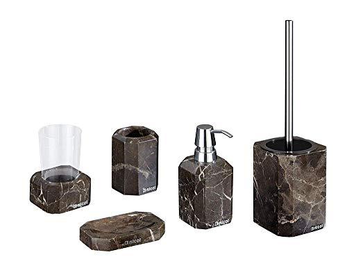 Nicol Badaccessoires Set 5-teilig Octavia aus echtem Marmor WC-Bürstengarnitur, Seifenspender, Becher, Seifenschale