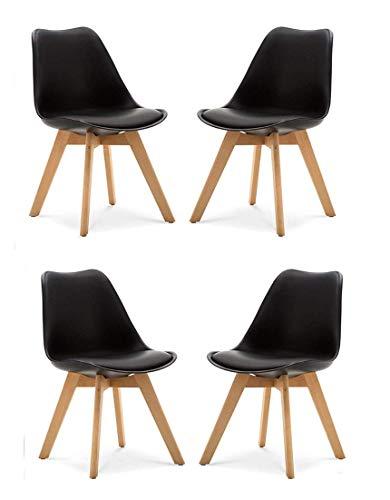P & N Homewares® Lorenzo Tulip Stuhl Kunststoff Retro 4er Set Esszimmerstühle mit Massivholz Buche Bein, Retro Design Gepolsterter lStuhl Küchenstuhl Holz, Schwarz