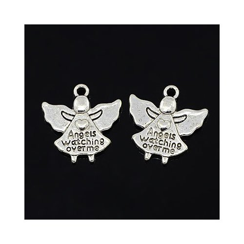 Tibetan Angels Watching Over Charm Pendants Antique Silver 19mm Pack of 30