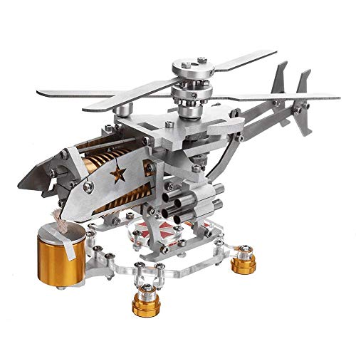 LSHUNYDE Modèle Generatorsolar Energy Engine Model, Motor Model Educational Toy Kit, Creative Military Helicopter Design Metal Toy Gift