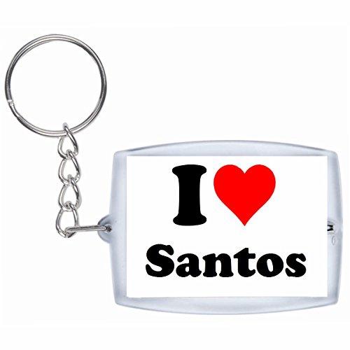 Druckerlebnis24 Schlüsselanhänger I Love Santos in Weiss - Exclusiver Geschenktipp zu Weihnachten Jahrestag Geburtstag Lieblingsmensch
