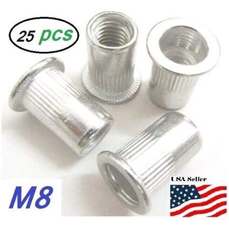 25pcs Aluminum M8x1.25 Rivet Nut Rivnut Insert Nutsert 8mm