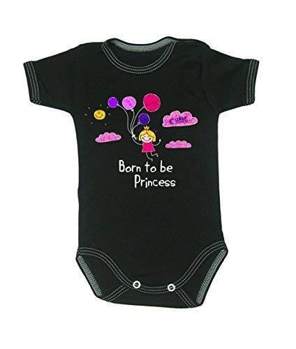 Colour Fashion Drôle Born to Be Princesse Garçon Fille Unisexe Combinaison Manche Courte 100% Cotton Petit Bébé - 24 Mois 0032 - Noir, Tiny Baby, 52 cm