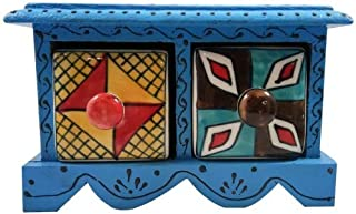 India Meets India Christmas Handicraft Wooden & Ceramic Small Chest Of 2 Decorated Drawers 6 * 4 * 4 Inch Use as Jewellery...