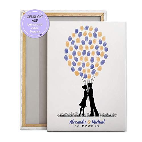 Wedding-Tree Paar Silhouette für Fingerabdrücke Luftballons, Gästebuch-idee Leinwand zur Hochzeit