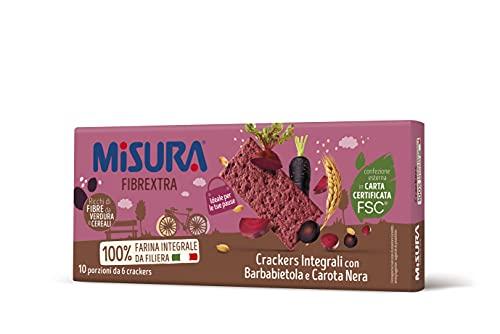 Misura Crackers Integrali con Barbabietola e Carota Nera Fibrextra | 15% di Fibre e 100% Farina Integrale | Confezione da 385 grammi
