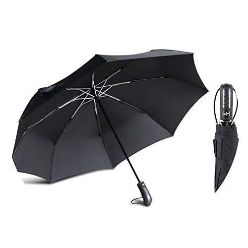 Srong Windproof Automatic 3Folding Umbrella Rain Women 8Ribs Aluminum Alloy Umbrellas For Men Business Dark Grid Handle,Black