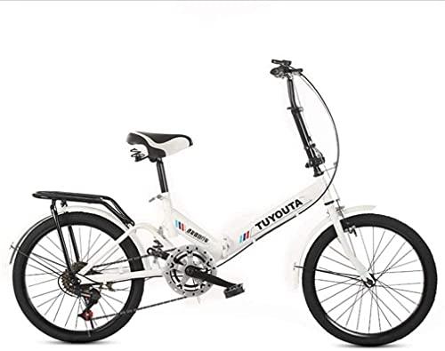 Bicicletas de montaña, bicicleta plegable de 20 pulgadas para estudiantes, bicicleta plegable de velocidad variable, bicicleta amortiguadora, marco de aleación con frenos de disco (color: blanco, ta