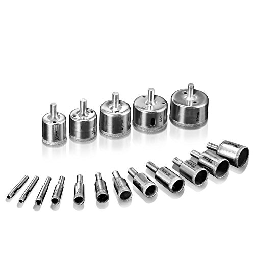 Gesh Trepan Diamond, 17Pcs Core Coating Diamond Hole Saw Drill for Tool Extractor for Tile Marble Glass Ceramic