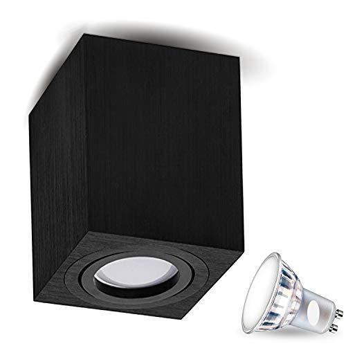 MILANO -LANG- 7W LED neutraal wit GU10 [hoekig/rond, B, S, W, zwenkbaar] plafondlamp, spot, plafondlamp, kubuslamp, kroonluchter van aluminium spot