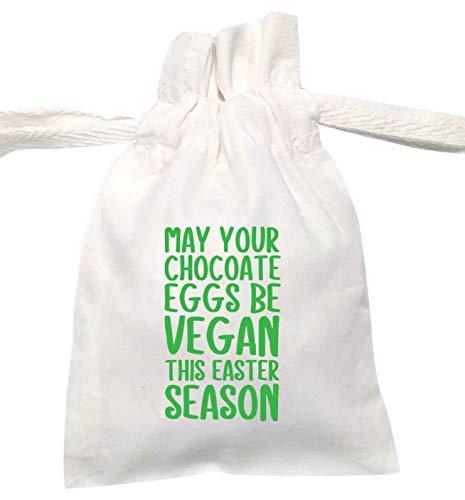 Flox - Sacchetto con coulisse organico per uova di cioccolato e Pasqua, bianco, Small - Single