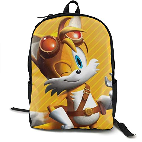 CHICLI Sonic Boom-Miles Tails Prower Anime Cartoon Cosplay Canvas Shoulder Bag Backpack Popular Lightweight Travel Daypacks School Backpack Laptop Backpack
