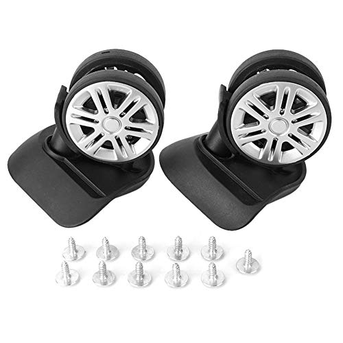 Dekaim Suitcase Wheels, Black Travel Luggage Parts Suitcase Wheel Replacement Swivel Caster Practical Accessory(2PCS Wheel)