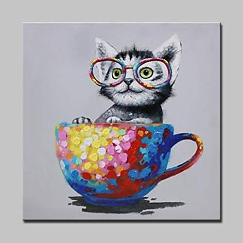 wZUN Taza de Dibujos Animados y Gato Animal Pintura al óleo sobre Lienzo Mural Abstracto Arte de la decoración del hogar 60x60 Sin Marco