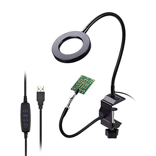 WFAANW LED 3X Lupa de Mesa Tornillo de la Tabla de la Abrazadera de Soldadura Ayudar a la estación de Soldadura Manual de 5 Piezas USB Herramienta de Mano Tercer Brazos Flexibles