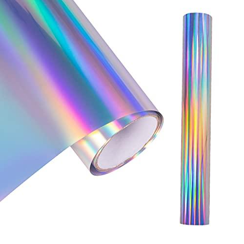 MagicQCraft Rollo de vinilo holográfico arco iris, rollo de vinilo permanente, rollo de vinilo autoadhesivo de 12 pulgadas x 1,5 m para cortadores de manualidades y letras