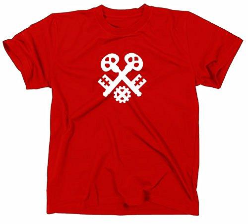 Schlosser Zunft Logo T-Shirt, Zunftzeichen Zunftlogo Symbol, XXL, red