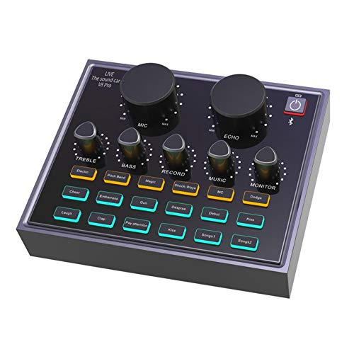 Mini-Sound-Mixer, V8 Pro Live-Soundkarte Computer PC-Aufnahme Audio-Mixer Bluetooth 5.0 Live-Soundkarte Externer USB für Musikaufnahmen