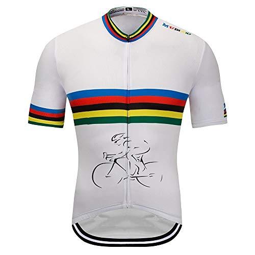 TONGDAUR Ciclismo Maillot Bicicleta Jersey Hombres y Mujeres Color Strip Manga Corta...