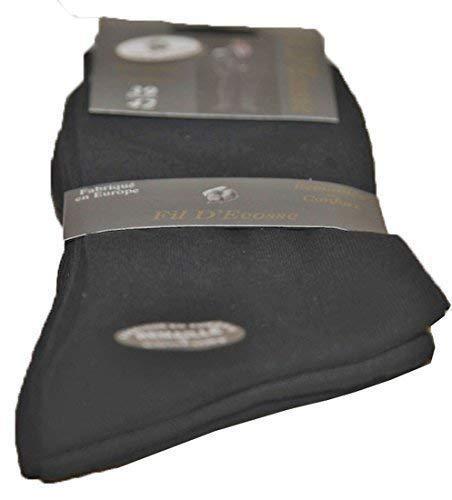 4 Lots de trois Paire Chaussette Homme coton Fil d'Ecosse Special Pieds Sensibles (39-42, Noir)