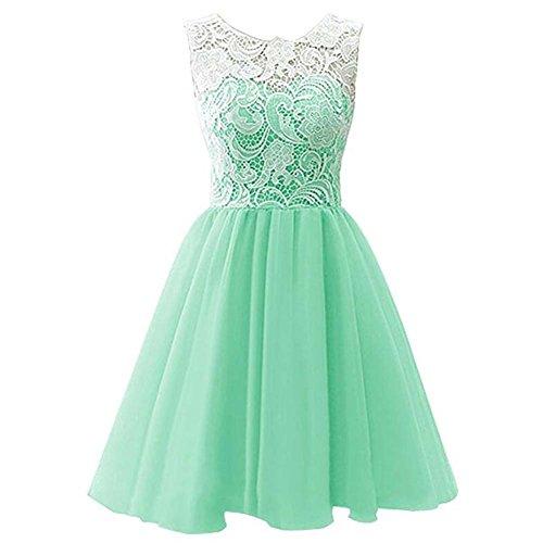 LSERVER-Mädchen Kinder Kleider Festlich Brautjungfern Kleid Prinzessin Hochzeit Party Kleid Spitze Spleiß Chiffon Festzug,Hellgrün,134(Herstellgröße 150)