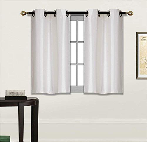 Elegant Home 2 Panels Tiers Grommets Small Window Treatment Curtain Faux Silk Insulated Blackout Drape Short Panel 28' W X 36' L Each for Kitchen Bathroom or Any Small Window # D24 (Ivory)