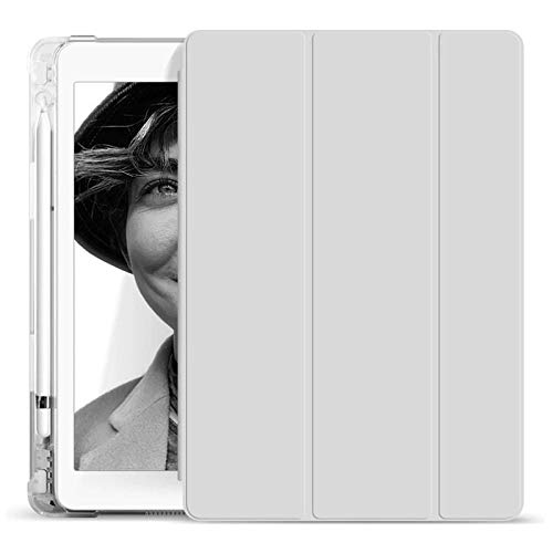 YYLKKB Adecuado para 2020 iPad Pro 11 Pulgadas Cubierta Protectora 10.2 iPad 9.7 Tablet PC Shell Air Air 3 Tablet Funda Funda con Titular de lápiz (Witnout Pen)-Gris_iPad 10.2